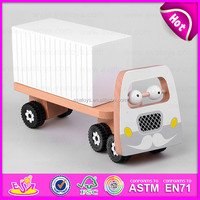 2015 Eco friendly Wooden goods van toys,DIY van wooden assemble educational toy,White wooden van toy for christmas gift W04A159