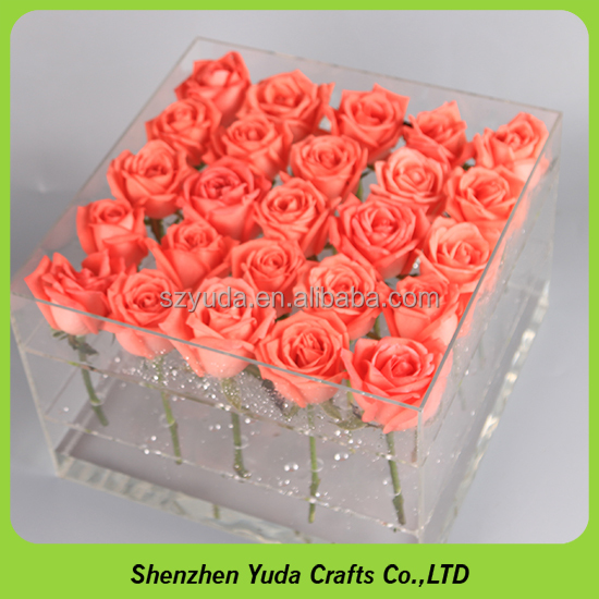 Luxury flower water storage case rose display box acrylic vases wholesale with professional design