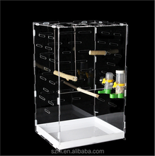 Custom Acrylic Bird cage sale,rectangle clear pet container,High Quality Bird Cages for sale