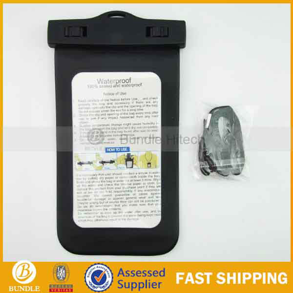 swimming hot selling PVC mobile phone waterproof case for 5inch mobile phone