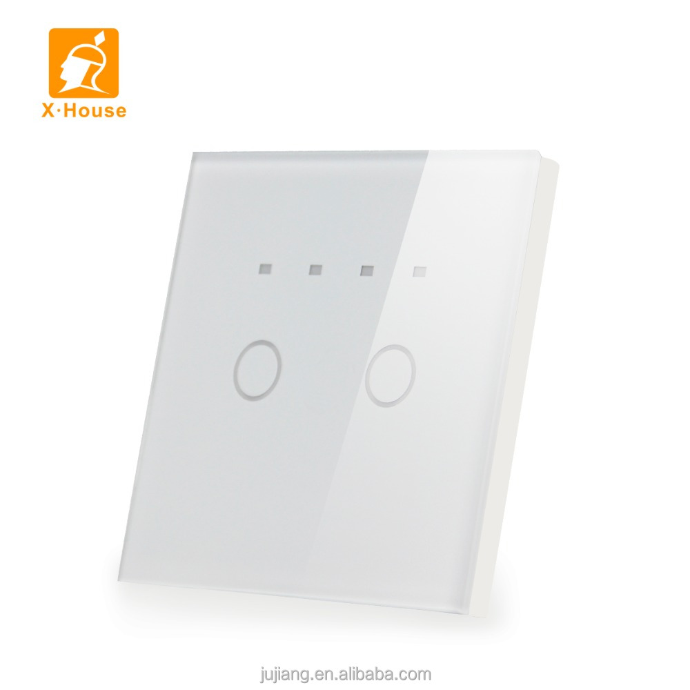 EU standard LED timer touch switch for smart home 2 gang 1 way lighting switch JJ-TSA-02AB
