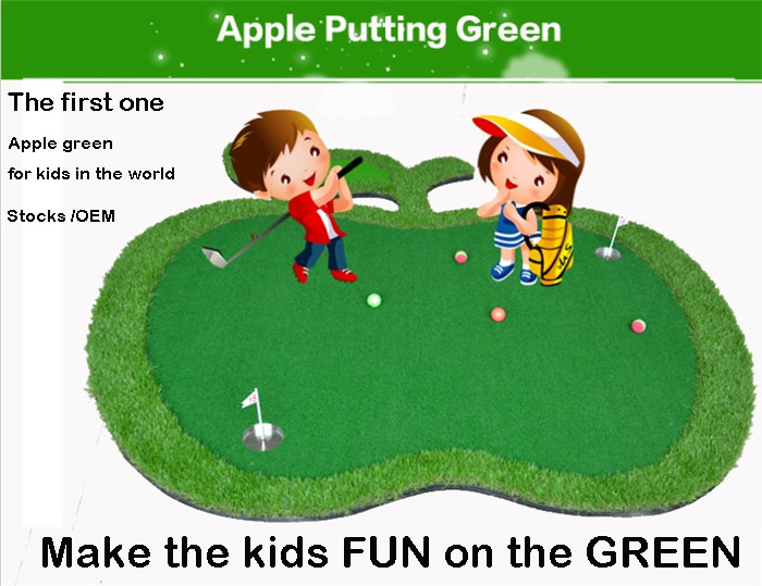 Apple Golf Putting Green Kids Novelty Game 2017 Newest Children Indoor Putter Trainer Golf Training Mat