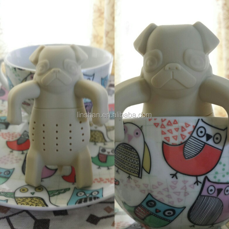 dog/pet/ animal silicone tea infuser , pug shape tea infuser