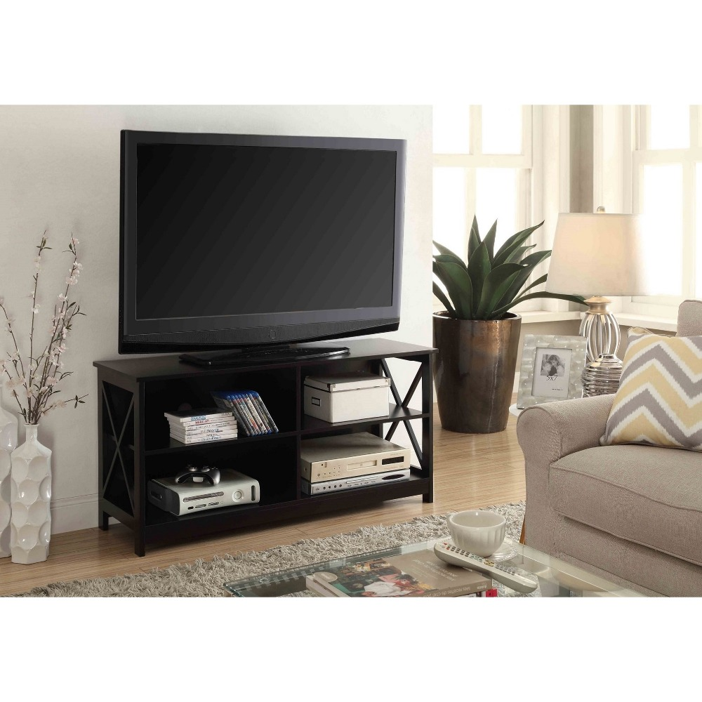 Simple Design Wooden Solid TV Plasma LCD Corner Table With 2 Shelf Table Unit Storage
