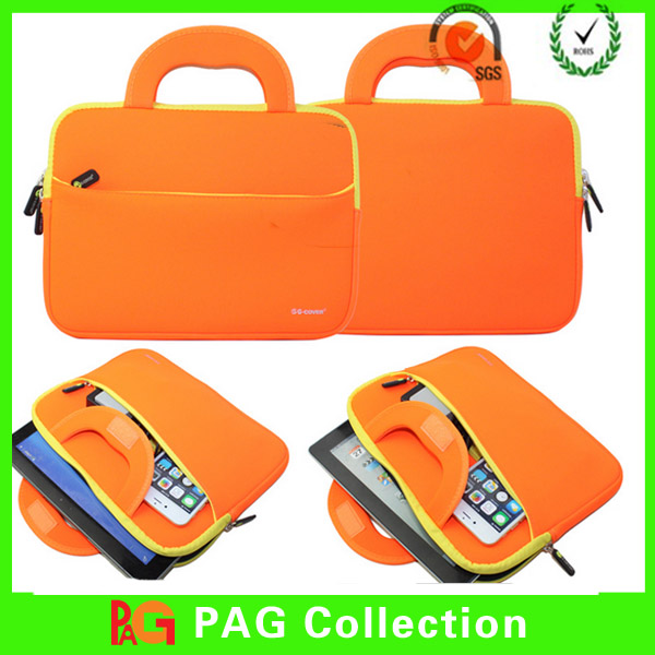 11.6 12,13,14,15,15.7inch Custom Waterproof zipper neoprene laptop bag / case / sleeve with handle