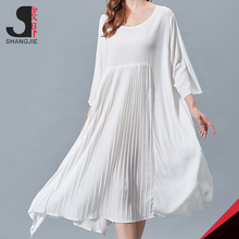 Accordion Pleat Design Round Collar Maxi Casual Summer Dresses For Fat Ladies