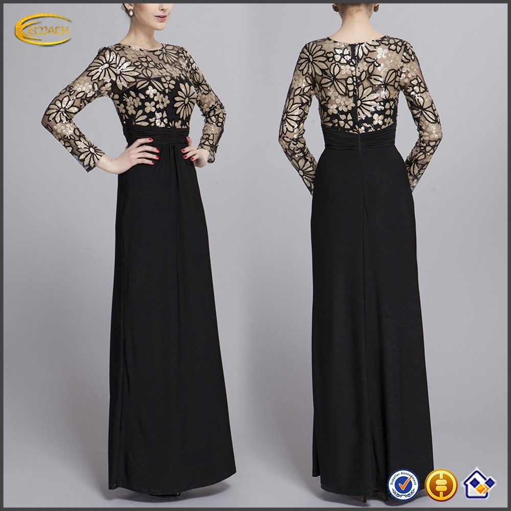 Black Floral Print formal dresses for middle aged women for evening party