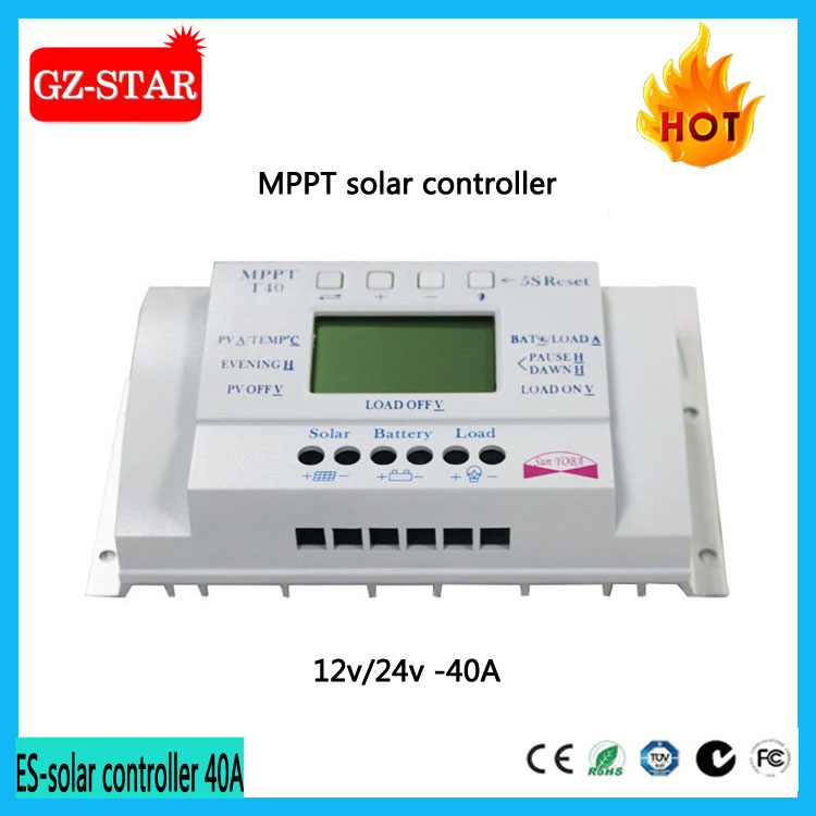 40A LCD USB 5V Solar Charge Controller 12V 24V Dual timer Control Solar Panel Batteries Charger MPPT Solar Controller