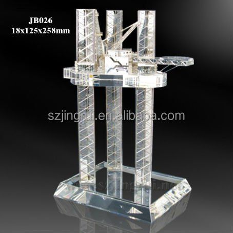 Offshore drilling rig design clear k9 crystal model gift