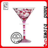high quality hand blown 250ml print lead free crystal cocktail glass with OEM logo ZCTG0403