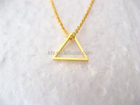 Little Dainty Necklace 14K Gold Filled Tiny Triangle brass pendant necklace geometric jewelry
