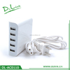 5 ports USB rechargeable travel power charger portable adapter