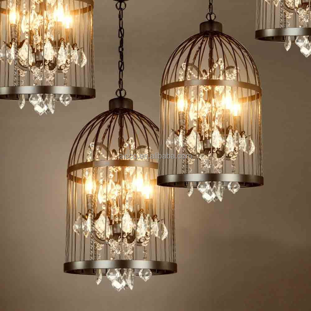 vintage pendentif lumi re cage oiseaux avec cristal industrielle lustre loft d coratif hanging. Black Bedroom Furniture Sets. Home Design Ideas