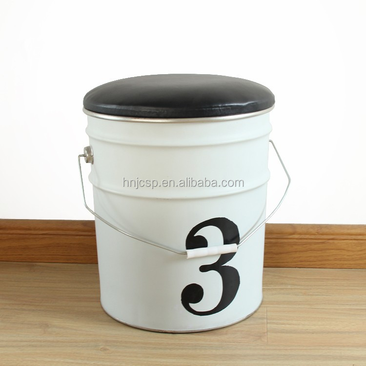 New arrival white prinitng round tin bucket storage bar stool chair with leather cover
