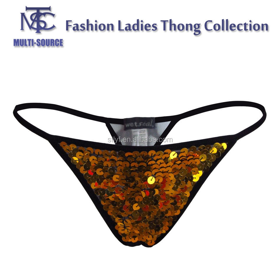 Shining sequin design ladies push up fashion bra and sexy T-back set of underwear