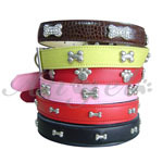 Top Quality 100% Real cow leather BONE pet collar