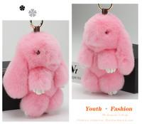 cute Dead rabbit keychain real rex rabbit fur softly for gift girl man keychain key holder toys for kids