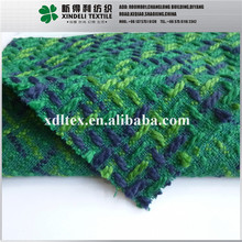 XL25116 Factory supply green vague check thick yarn dyed tweed woolen yarn heavy 100% machine washable wool fabrics