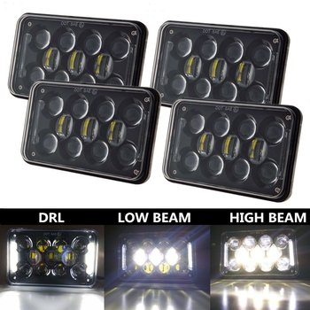 "Good performance 5"" 4x6 led headlights for excavator rectangle 60w led auxiliary light for jeep"