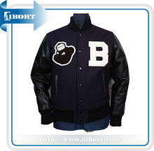 VSTJK-09 Wool Baseball. Varsity Jacket with Leather Sleeve
