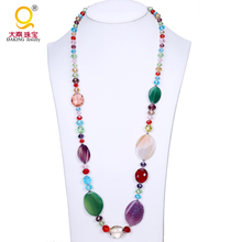 Multi-color statement necklace crystal agate collar 2016