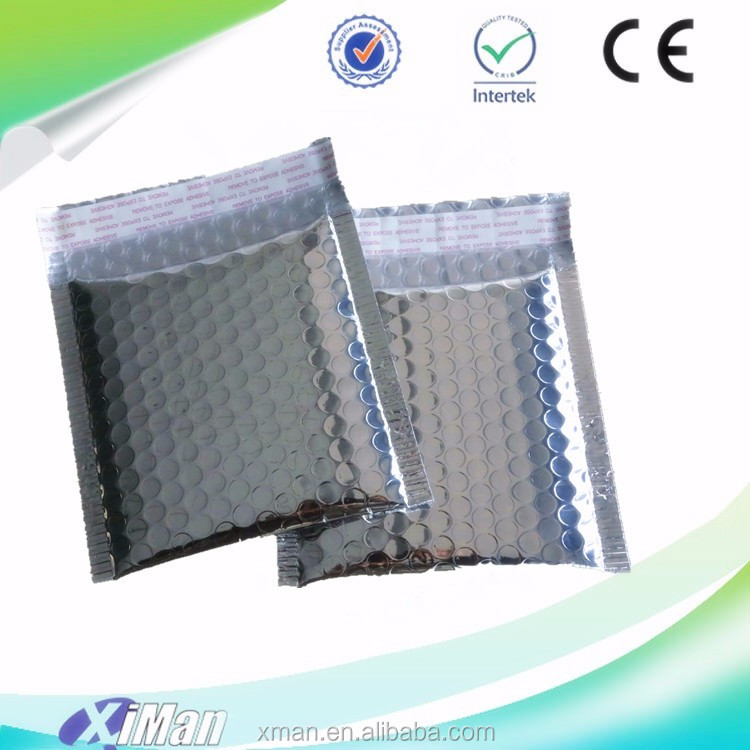 Self-Sealing Custom Pouch Silver Metallic Bubble Mailer, bubble metallic mailer stock