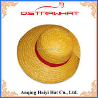 Wholesales HYSH54 knit bucket yellow straw with with red belt