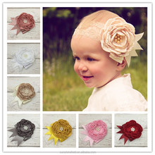 Monochrome flower wide lace baby headband