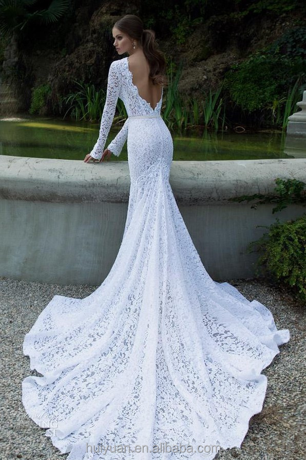 elegant long sleeve full lace high neck latest style muslim wedding dress
