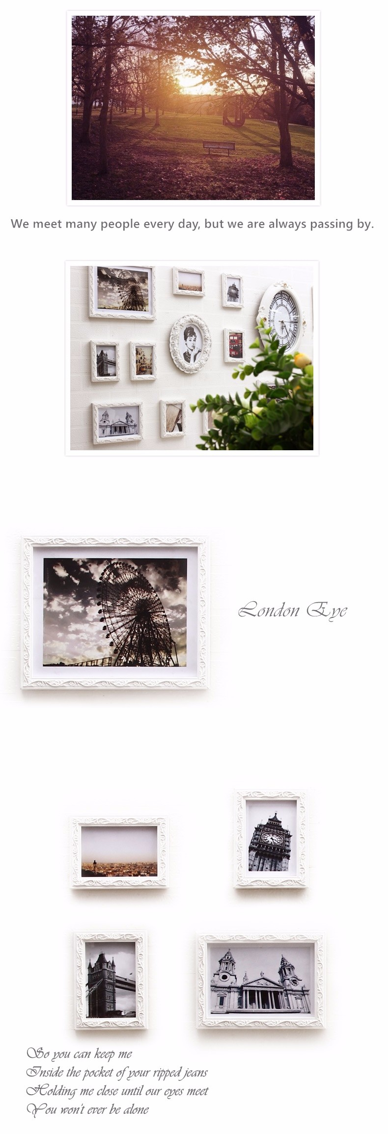 QS-51234E Combination Wall Photo Frame Romantic Europe Style Wood Love Photo Frame
