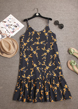 ZH0307E Korean design summer floral printed women strap dress flouncing sun dress