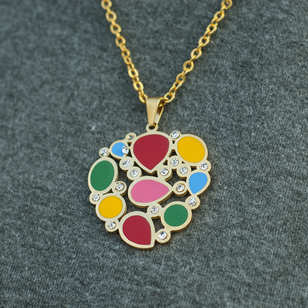 MUSE MN10061 Crystal Colorful Enamel Pendant Jewelry Set Wholesale