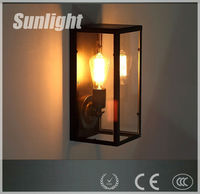 American modern industrial style black bird glass cage Iron corridor metal wall lamp/light for shop
