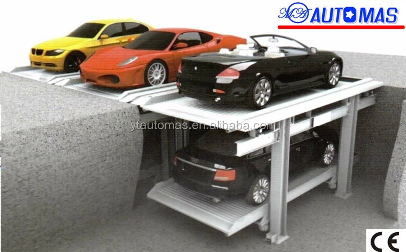 new design 2 floors pit car parking lift hydraulic car lift