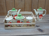 Ceramic Kitchen Condiment Cruet Set Oil Vinegar Pot & Salt Pepper Shaker & Sugar Jar Set