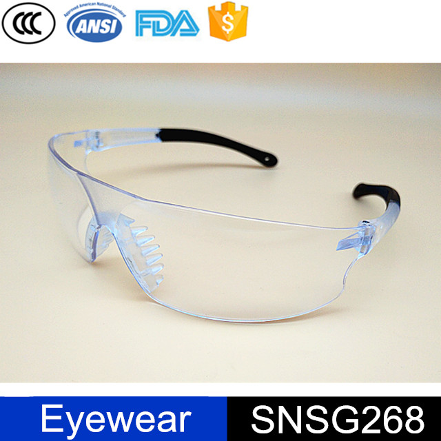 PC Clear Lens Soft Nose Rubber Pad PVC Temple Safety Glasses