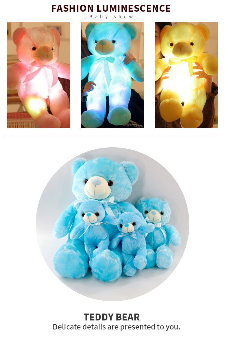 2020 Hot Colorful Shining Led Light Teddy Bear Plush Toys 7 Coloring Changing Easter gift
