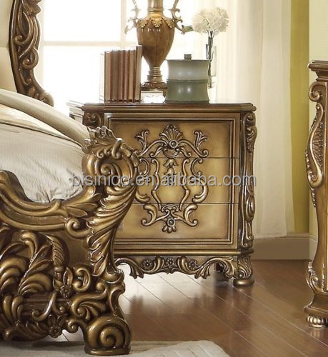 Palace Style Hand Carved Wooden King Size Bedroom Set European Luxury Bedroo