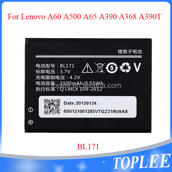 NEW BL171 3.7V 1500mAh Li-ion Battery for lenovo battery A60 A500 A65 A390 A368 A390T