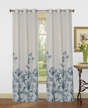 Printed grommet window curtain panel