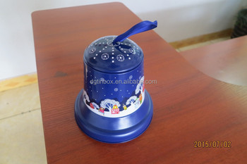 Xmas bell shaped tea caddy tin container,tin can