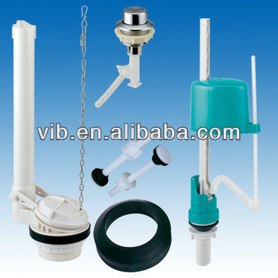 Toilet cistern flush mechanism of complete wc set toilet repair kits of flapper valve and silent fill valve and tank button