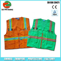 luminous safety vest with 6 Pockets Front