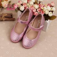 New design fashion soft leather TPR sole casual flat girls kids shoes