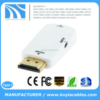 KUYIA 1080P HDMI Male to VGA Female adapter with Audio for PC / TV / DVD