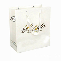 luxury white shopping paper bag with printed logo
