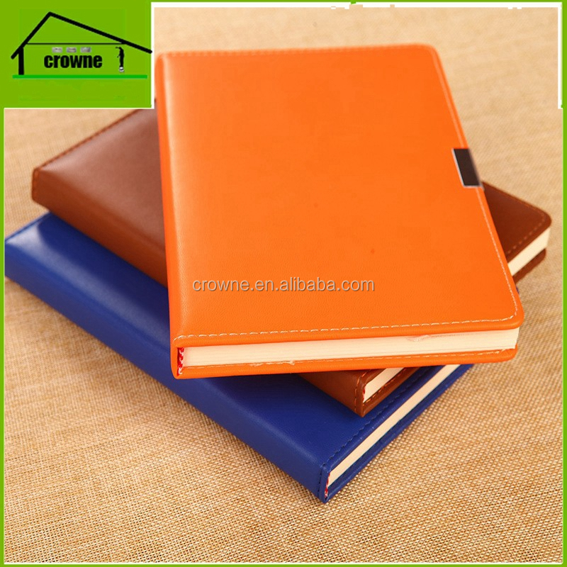 Customized logo classic diary book note book planner pu leather cover