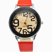 Charm red and black designs big numbers chrome case silicon band western brand style watches with China factory price