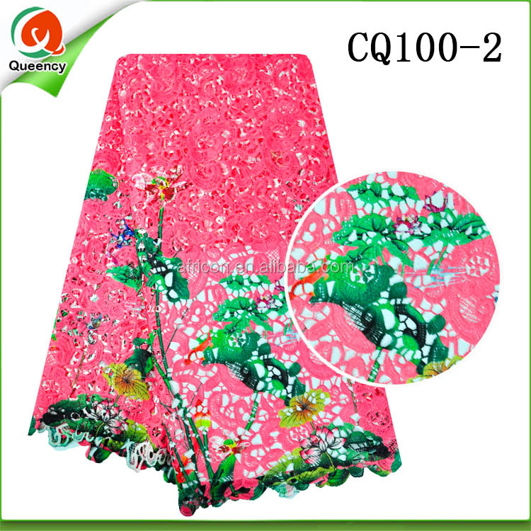 CQ100 Queency High-End 2017 Latest Fashion Design Cord Dress Styles Colorful Nigerian Lace