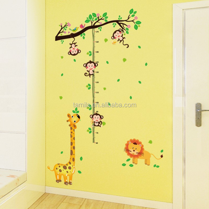 cartoon children monkey Lion giraffe removable kids bedroom wall stickers, growth height chart stickers